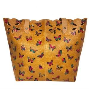 Colombian Tooled Leather Handbag with butterflies